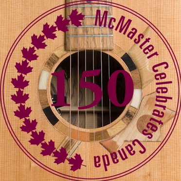 McMaster Celebrate Canada's 150th logo over guitar